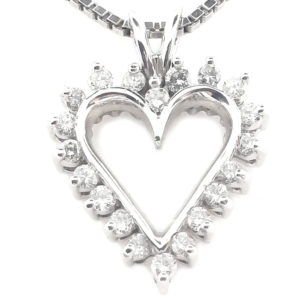 14kt White Gold 0.65ct tw Diamond Heart Pendant