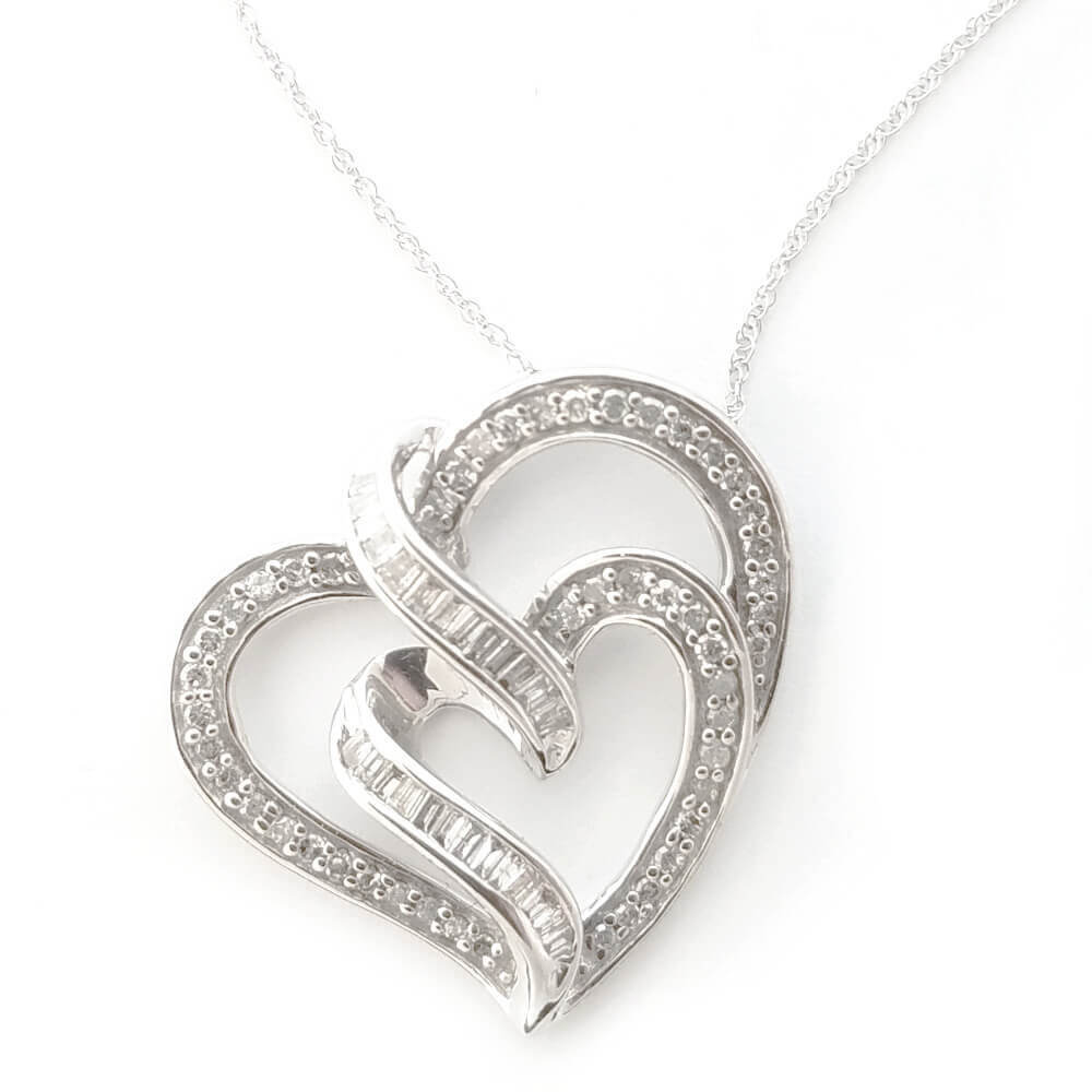 10K White Gold 1.00ct Diamond Heart Necklace