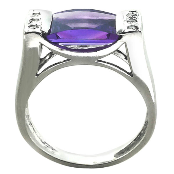 10K White Gold Diamond and Amethyst Ring