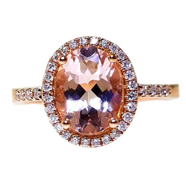 14K Rose Gold 0.19ct Diamond and 1.72ct Morgan Ring