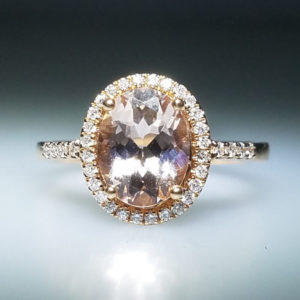 14K Rose Gold 0.19ct Diamond and 1.72ct Morgan Ring