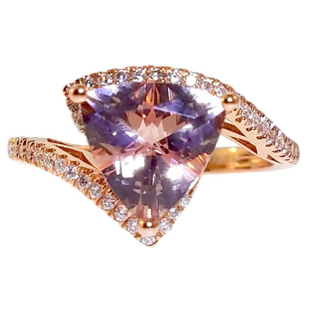 14K Rose Gold 2.27ct Diamond and Morganite Ring
