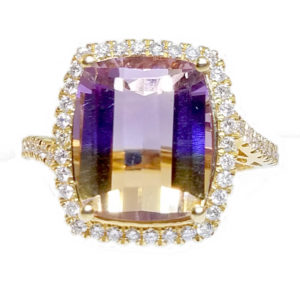 14K Rose Gold 5.97ct Diamond and Ametrine Ring