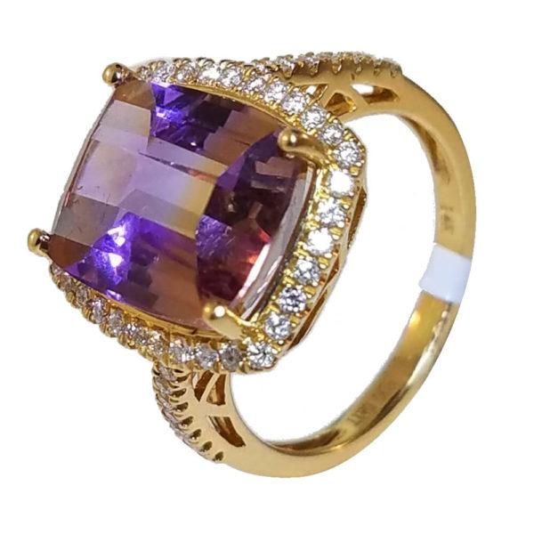 14K Rose Gold 5.97ct Diamond and Ametrine Ring