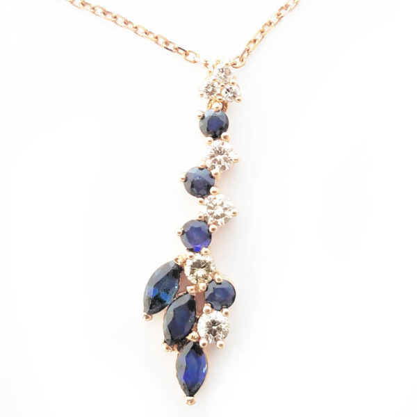 14K Rose Gold 2.48ct Sapphire and Diamond Necklace