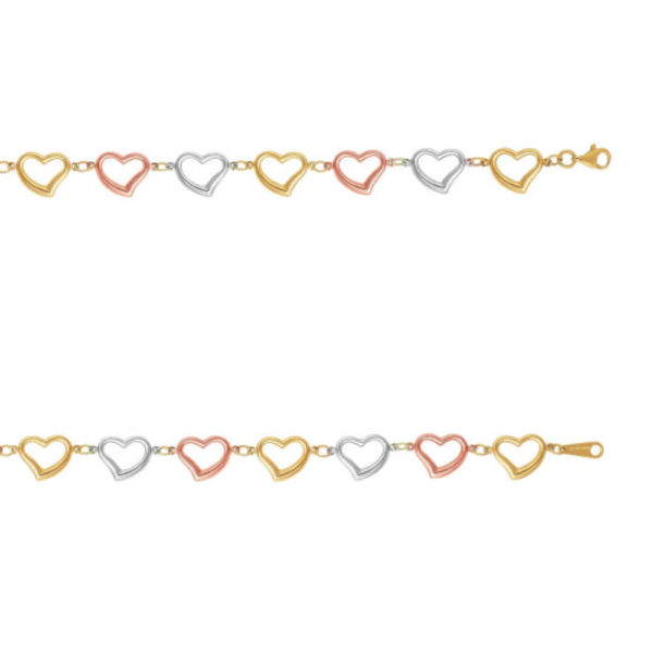 14K Tri-Color Gold Ladies Heart Bracelet