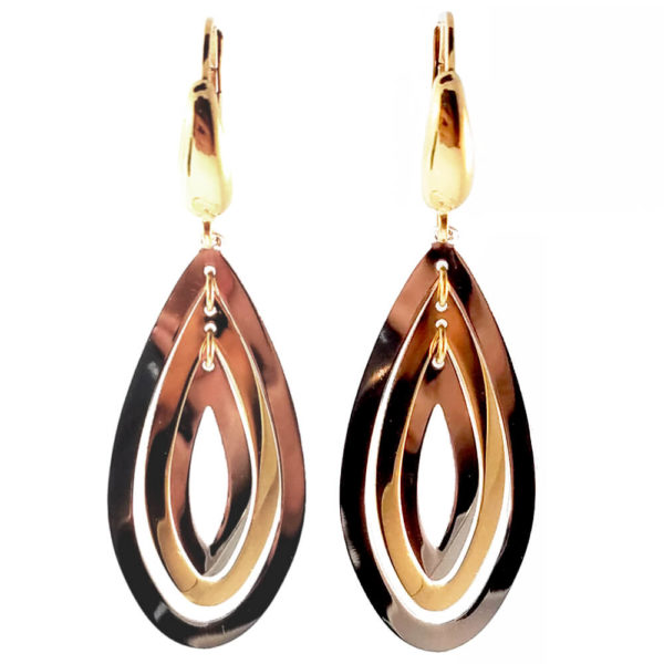 14K Two Tone Gold Earrings