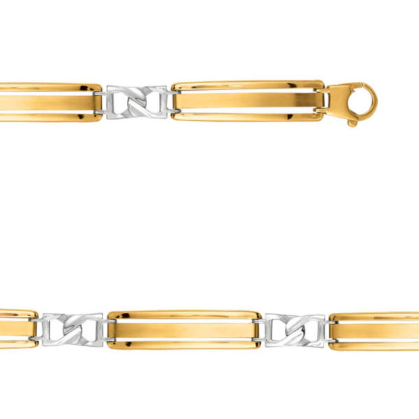 14K Two Tone Gold Gent's Wide Link Bracelet