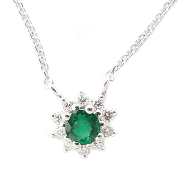 14K White Gold 0.17ct Emerald and Diamond Necklace