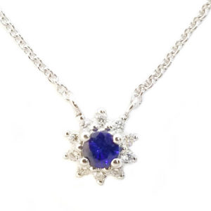 14K White Gold 0.197ct Sapphire and Diamond Necklace
