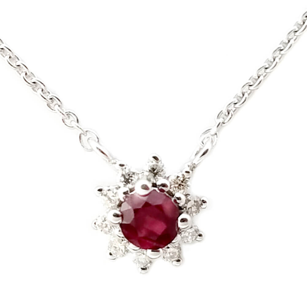 14K White Gold 0.20ct Ruby and Diamond Necklace