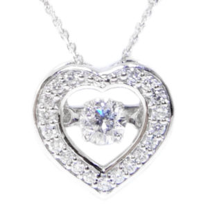 14K White Gold 0.10ct Diamond Heart Necklace