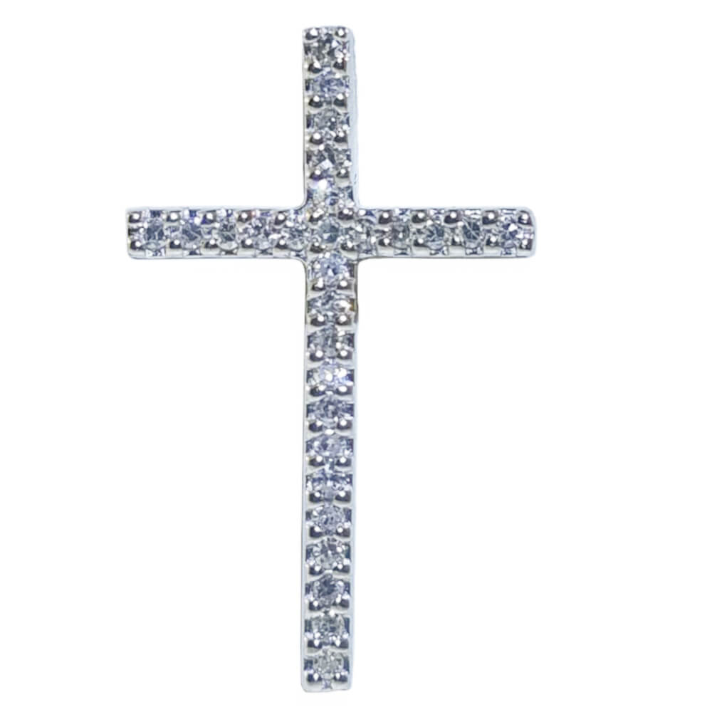 14K White Gold 0.11ct Diamond Crucifix