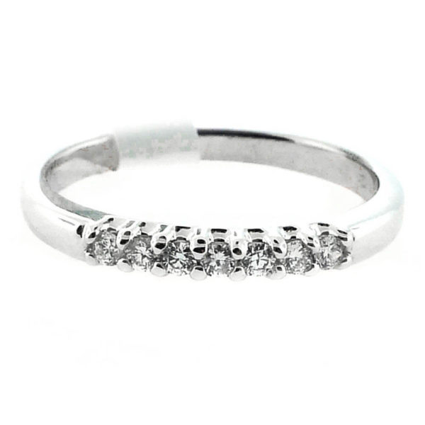 14K White Gold 0.18ct Diamond Wedding Band