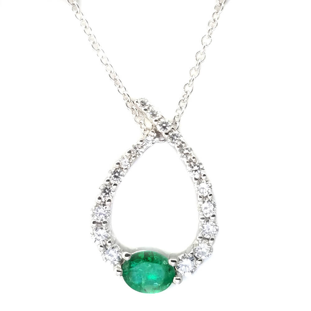 14K White Gold 0.49ct Emerald and Diamond Necklace
