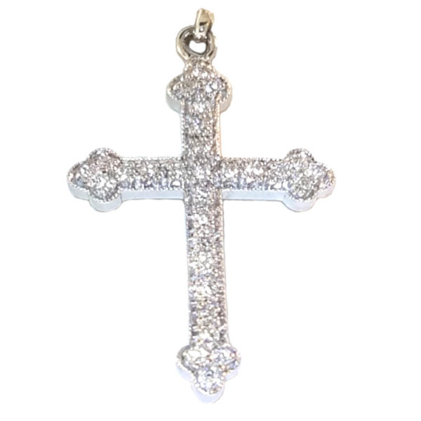 14K White Gold 0.28ct Diamond Crucifix