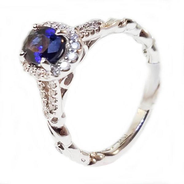 14K White Gold 1.28ct Diamond and Sapphire Ring