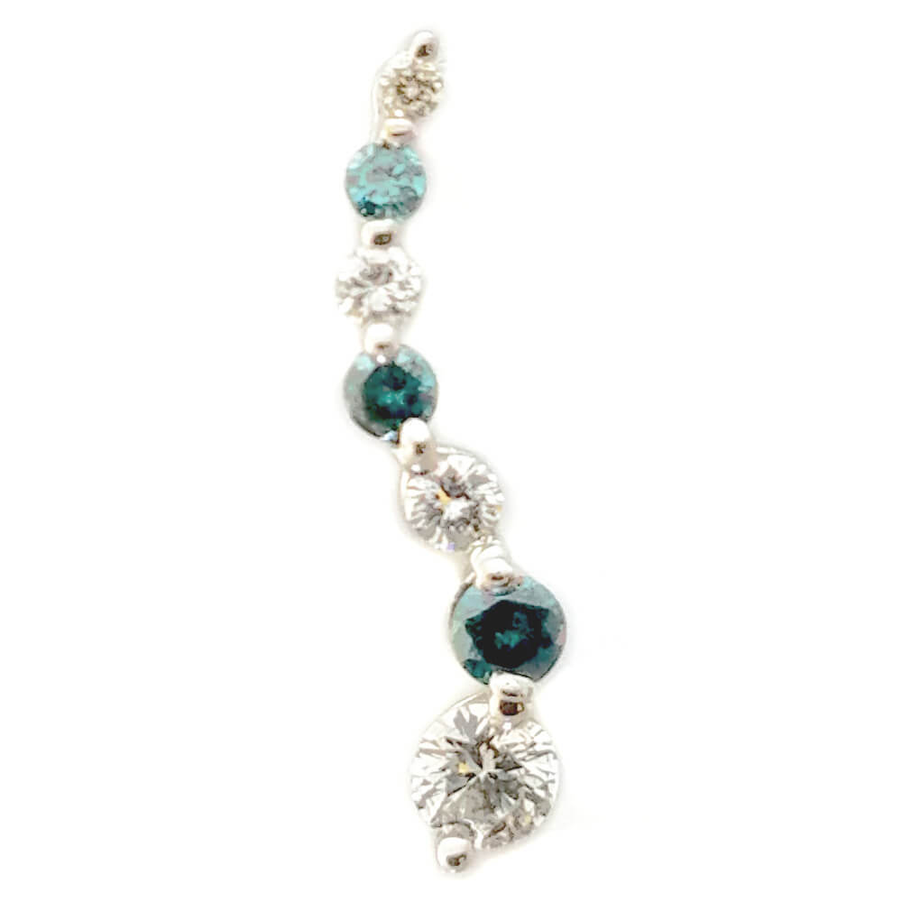 14K White Gold 0.30ct Emerald and Diamond Pendant