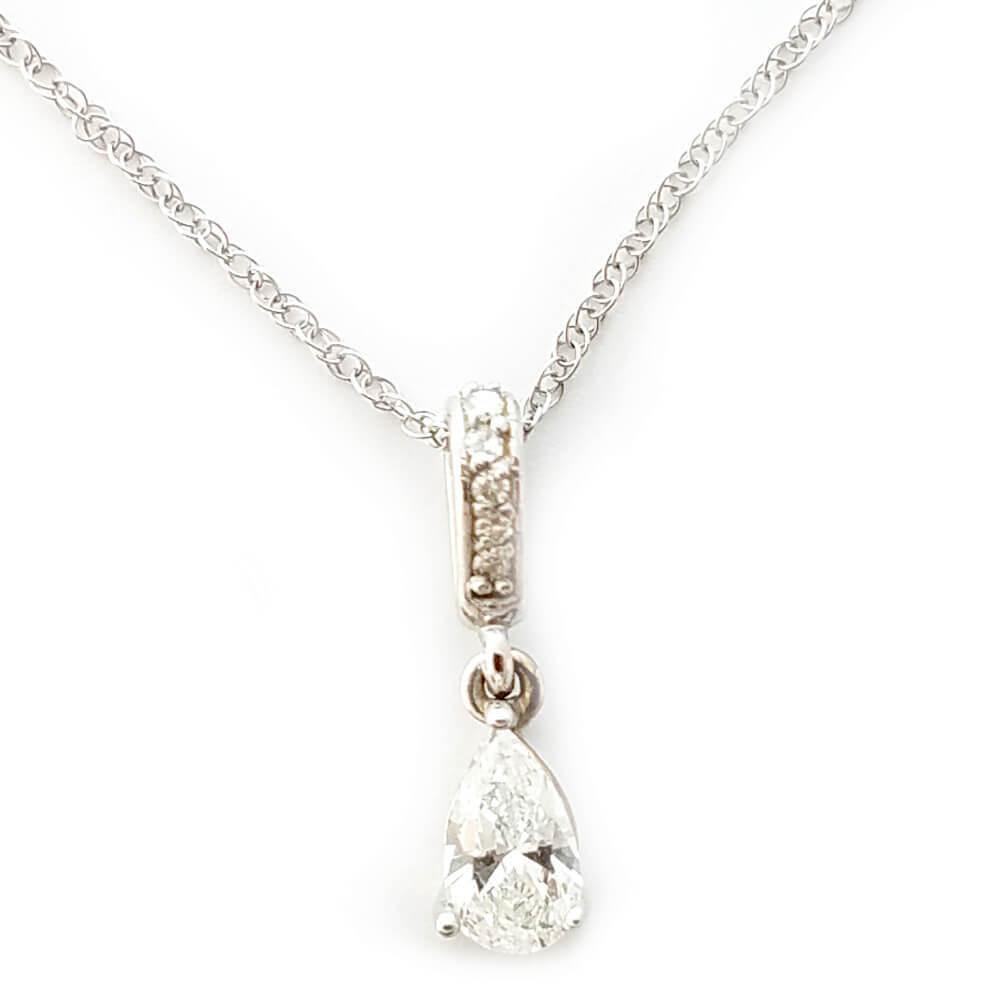 14K White Gold 0.36ct Diamond Necklace
