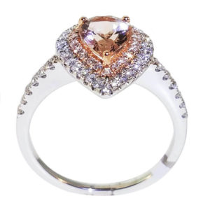 14K White Gold 0.44ct Diamond and .90ct Morgan Ring