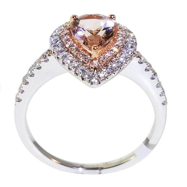 14K White Gold 0.44ct Diamond and .90ct Morgan Ring