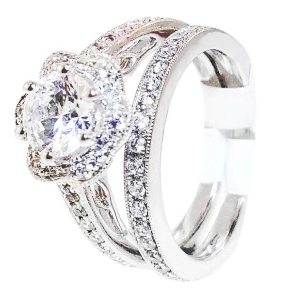 14K White Gold 0.47ct Diamond Bridal Set