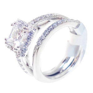 14K White Gold 0.56ct Diamond Bridal Set