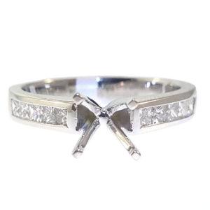 14K White Gold 0.56ct Diamond Semi-Mount Engagement Ring