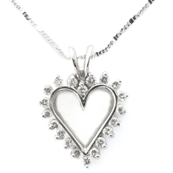 14K White Gold 0.65ct Diamond Heart Necklace