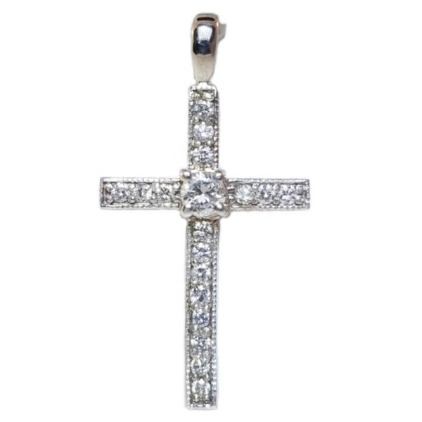 14K White Gold 0.67ct Diamond Crucifix