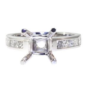 14K White Gold 0.72ct Diamond Semi-Mount Engagement Ring