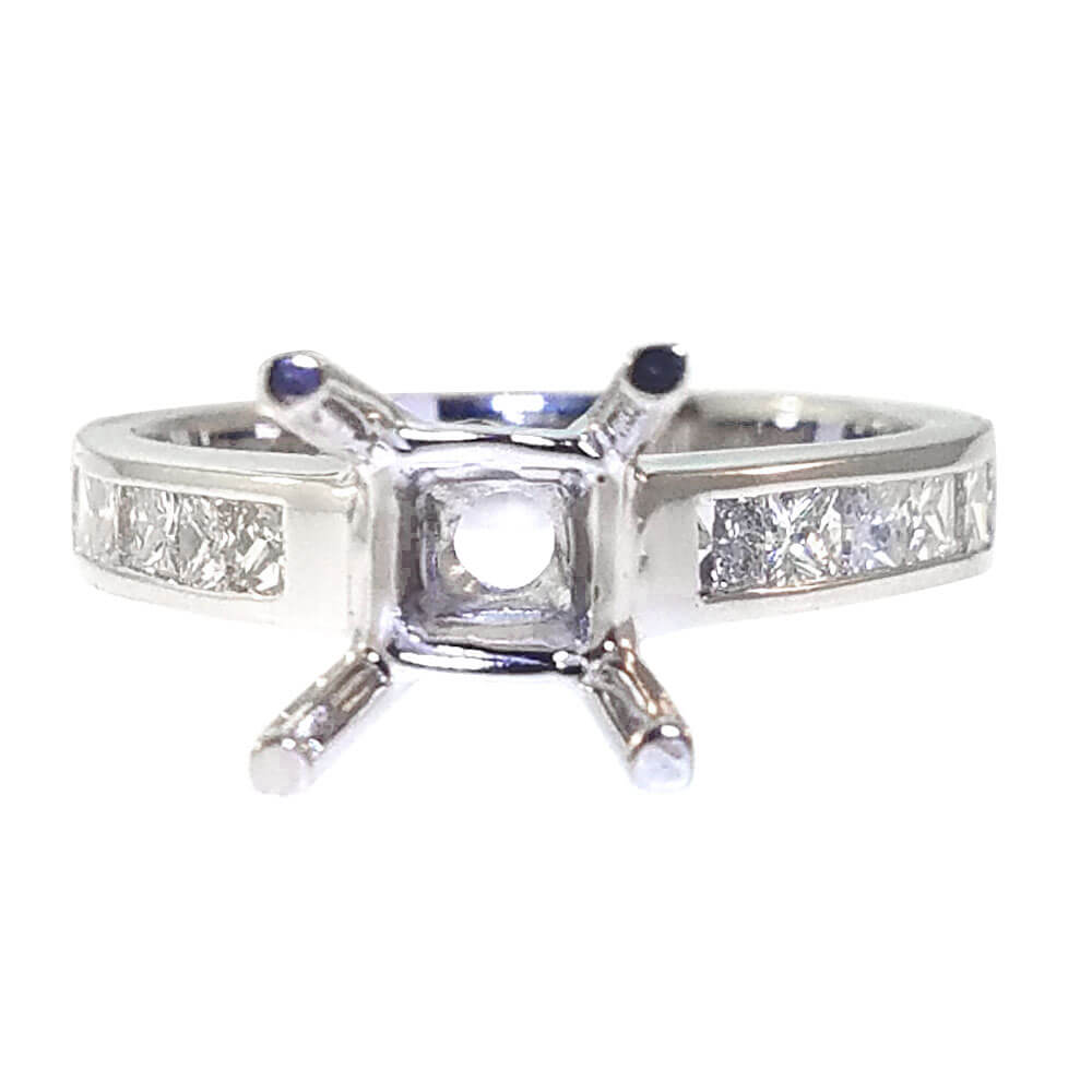 14K White Gold 0.72ct Diamond Semi-Mount Engagement Ring