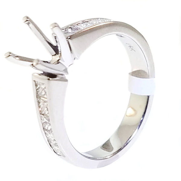 14K White Gold 0.80ct Diamond Semi-Mount Engagement Ring