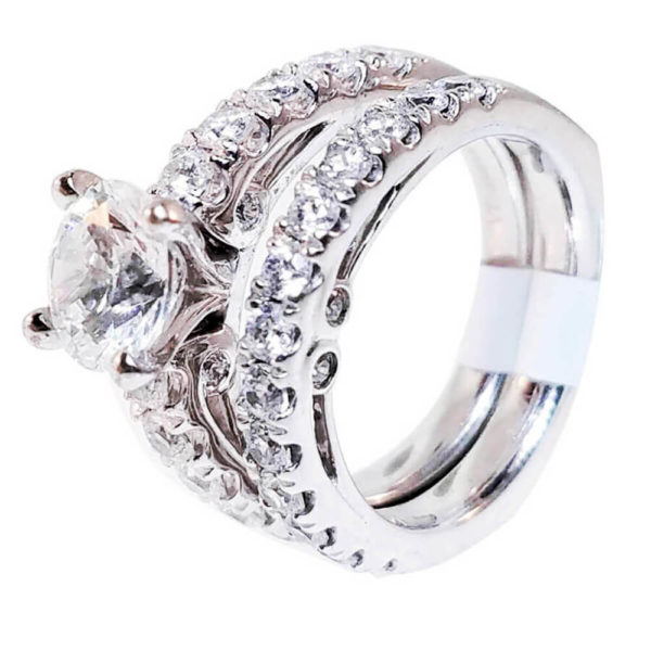 14K White Gold 1.00ct Diamond Bridal Set