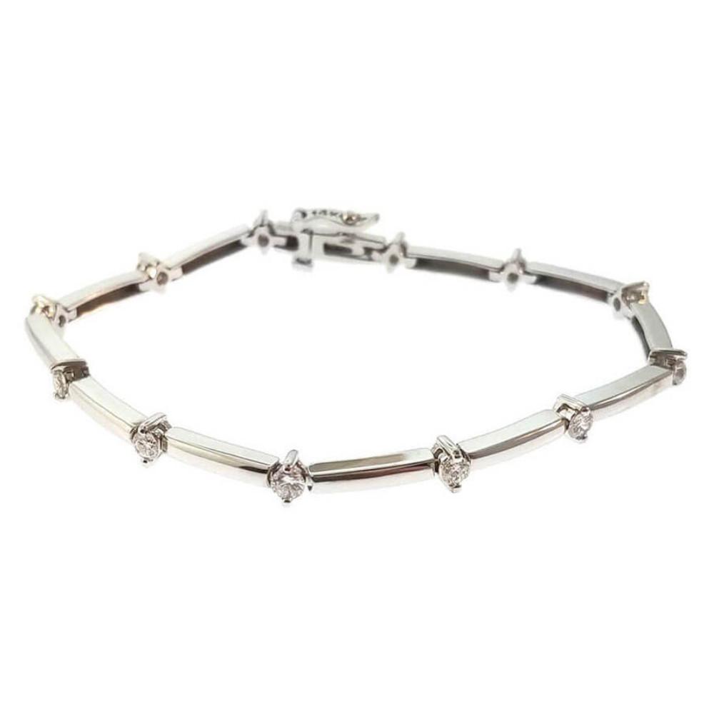 14K White Gold 1.05ct Diamond Tennis Bracelet
