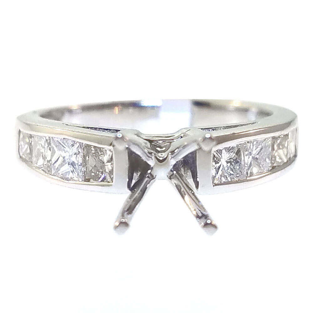 14K White Gold 1.10ct Diamond Semi-Mount Engagement Ring