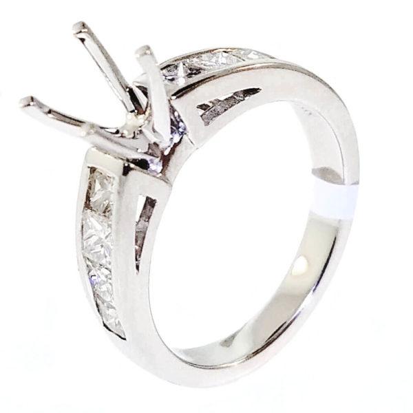 14K White Gold 1.10ct Diamond Semi-Mount Engagement Ring