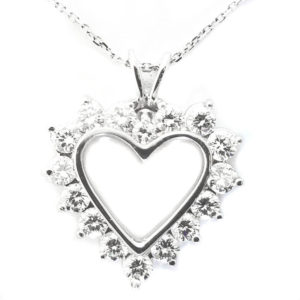14K White Gold 1.75ct Diamond Heart Necklace