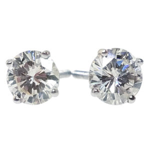 14K White Gold 1.88ct Diamond Stud Earrings H259