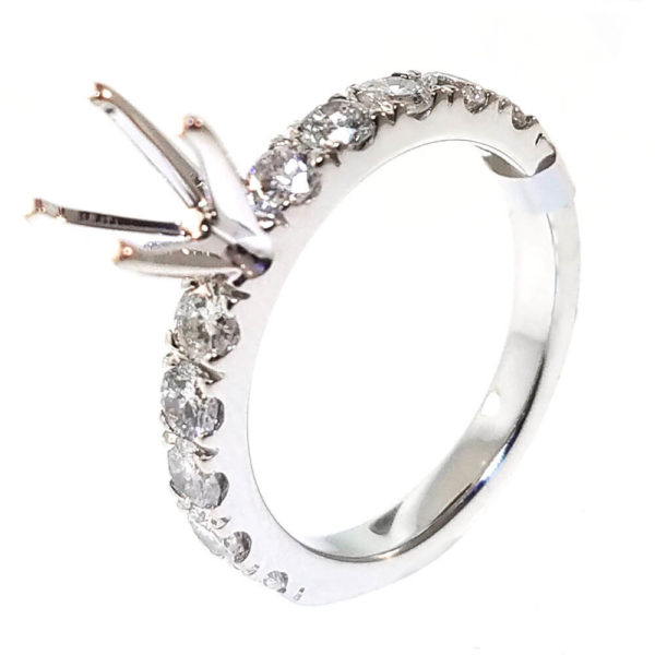 14K White Gold 2.13ct Diamond Semi-Mount Engagement Ring