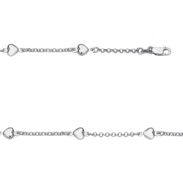 14K White Gold Ladies Heart Bracelet