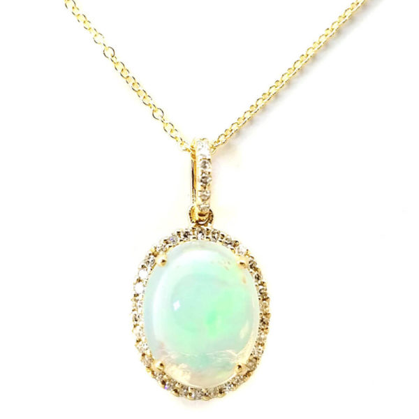 14K Yellow Gold 1.12ct Opal and Diamond Necklace