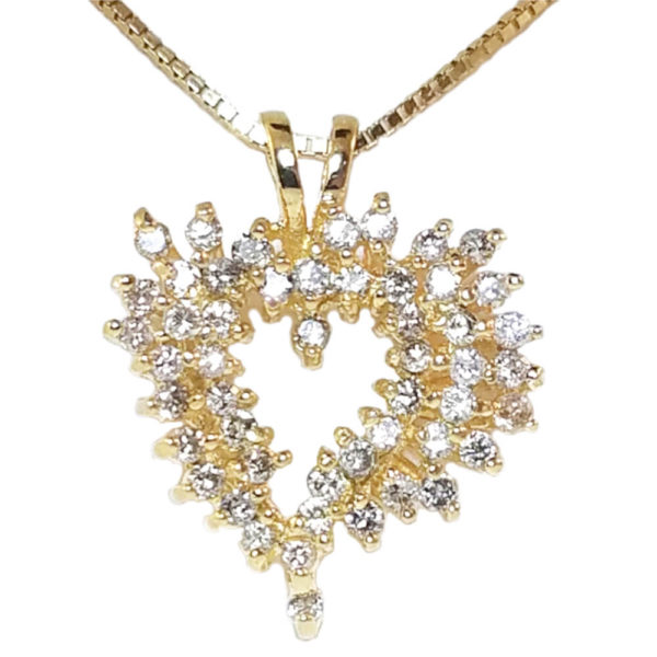 14K Yellow Gold 0.75ct Diamond Heart Necklace