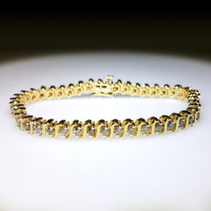 14K Yellow Gold 3.00ct Diamond Tennis Bracelet
