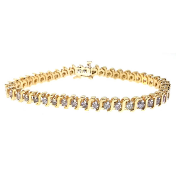 14K Yellow Gold 3.00ct Diamond Tennis Bracelet
