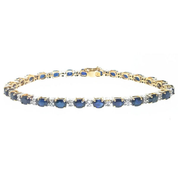 14K Yellow Gold Diamond and Sapphire Tennis Bracelet