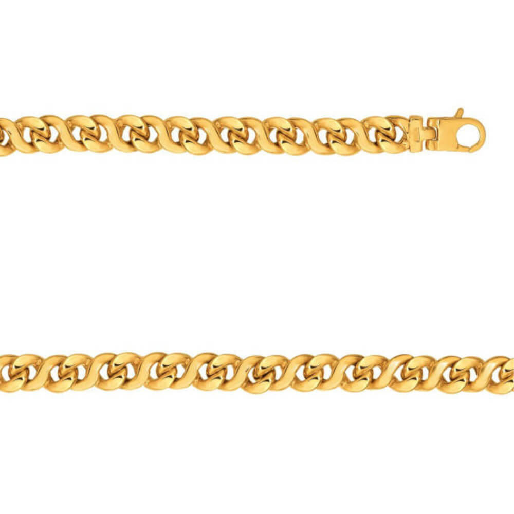 14K Yellow Gold Gent's Double Twist Link Bracelet