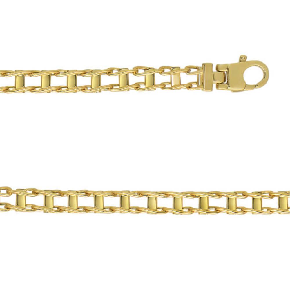 14K Yellow Gold Gent's Flat Link Bracelet