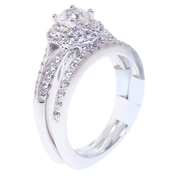 14K White Gold 0.48ct Diamond Bridal Set
