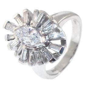14K White Gold 0.91ct Diamond Ring